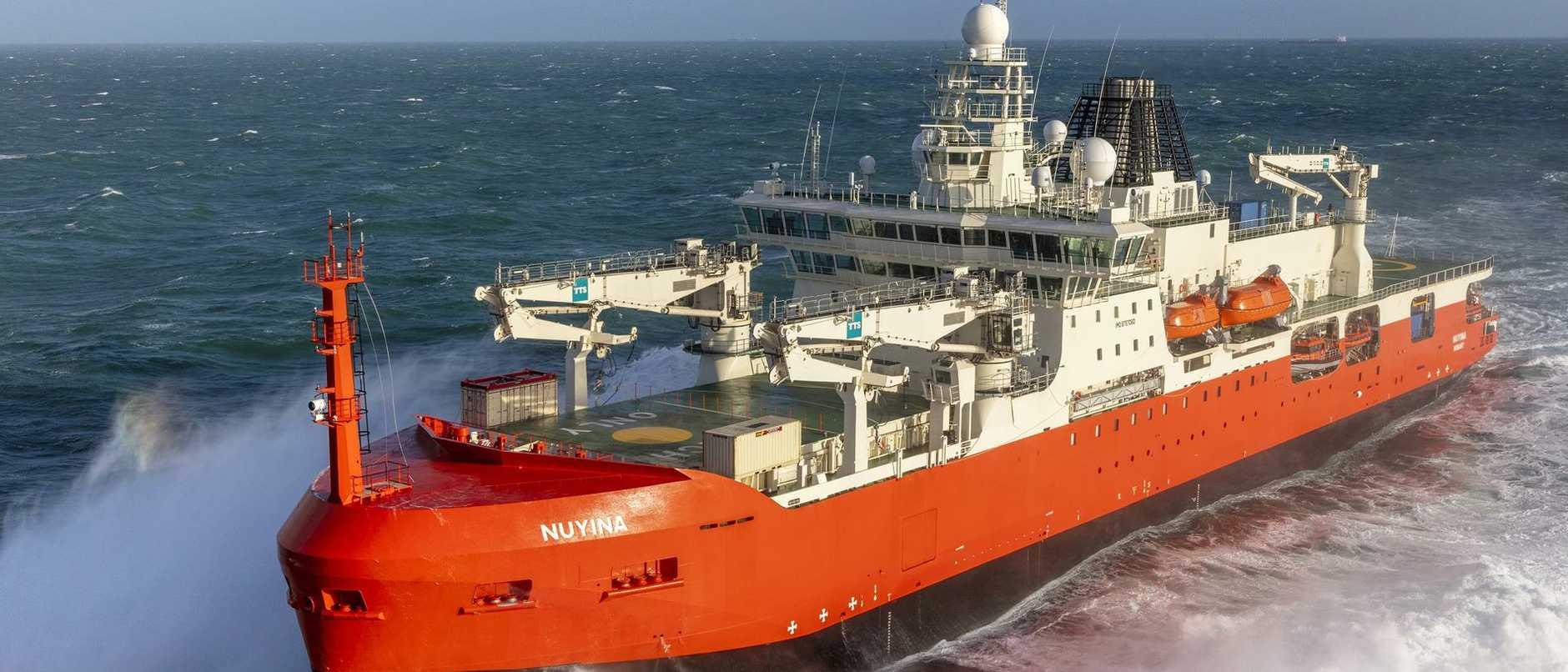 Australia's new Antarctic icebreaker RSV Nuyina is undertaking sea trails as it prepares to call Hobart home.