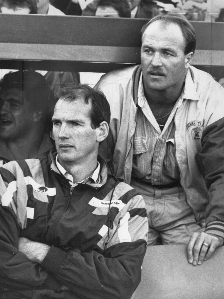 Wayne Bennett and player Wally Lewis watch from the sideline during the Penrith Panthers v. Brisbane Broncos game in Penrith, 1988. Picture: Supplied
