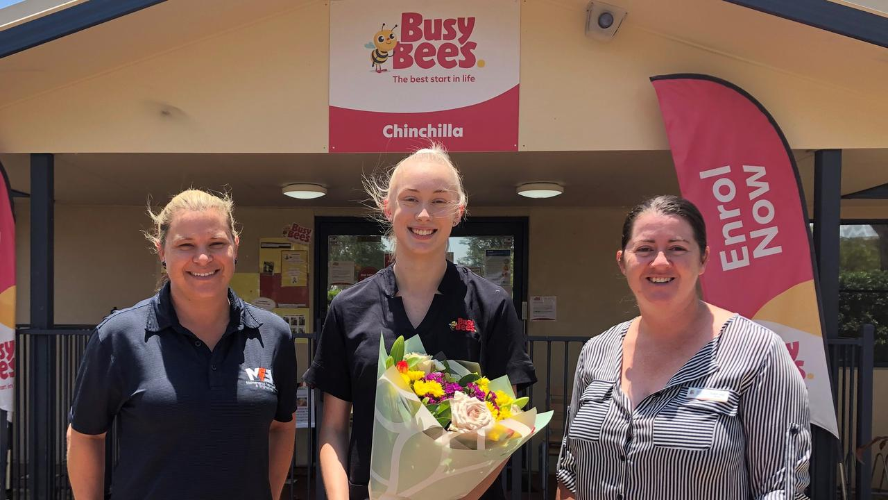 WELL DONE EMMA: Emma Triplett celebrating 12 months employed at the Busy Bee Childcare Centre with Louise McMahon and Robyn Haig. Picture: Contributed