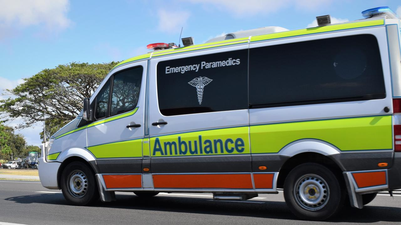 The Queensland Ambulance Service have taken a driver to hospital following a crash in Marian. Picture: Heidi Petith