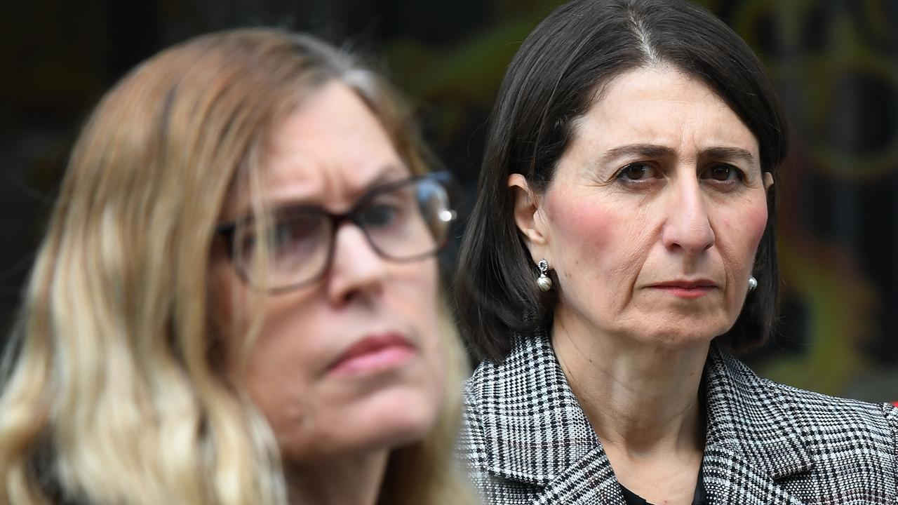 MARCH: Berejiklian looks on as NSW chief health officer Dr Kerry Chant updates the media on COVID-19. Picture: AAP/Dean Lewins