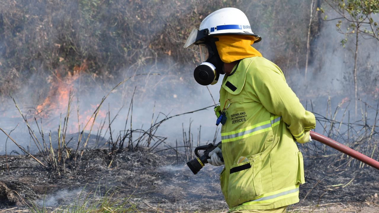 Queensland Fire and Emergency Services, including Rural Fire Service crews, contained a 20ha vegetation fire at Hay Point on Tuesday November 24. Generic QFES, RFS, firefighter. Picture: Zizi Averill