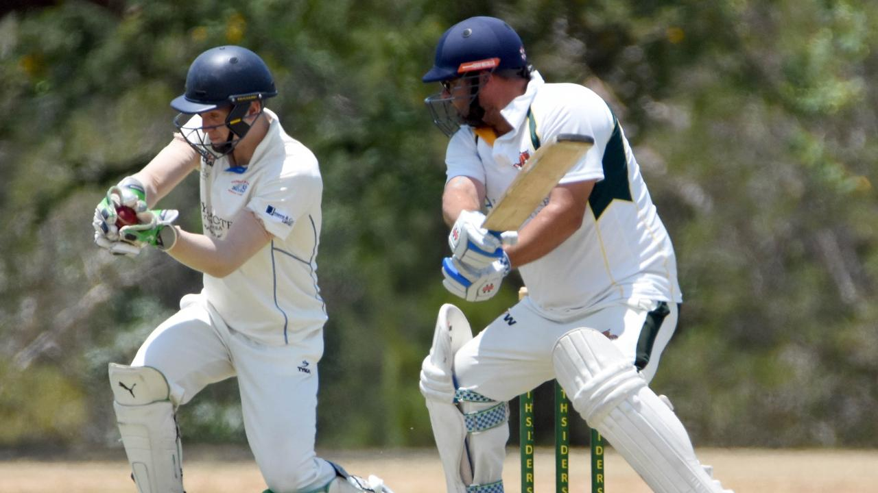 Northsiders batsman Shane Krings watches the ball reach the gloves of the Highfields Railways wicketkeeper in their latest Harding-Madsen Shield match at Keith Sternberg Oval. Picture: Gary Reid