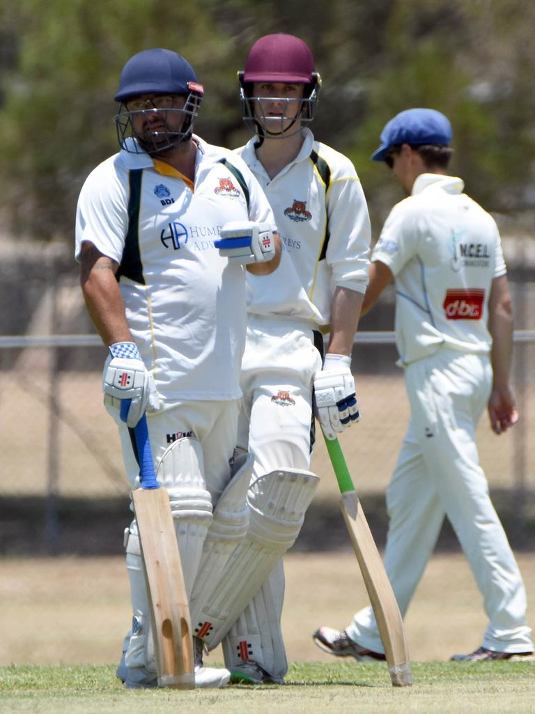 Northsiders batsmen Shane Krings (left) and Nick Verrenkamp ponder the state of play in their latest Harding-Madsen Shield match against Highfields Railways at Keith Sternberg Oval. Picture: Gary Reid