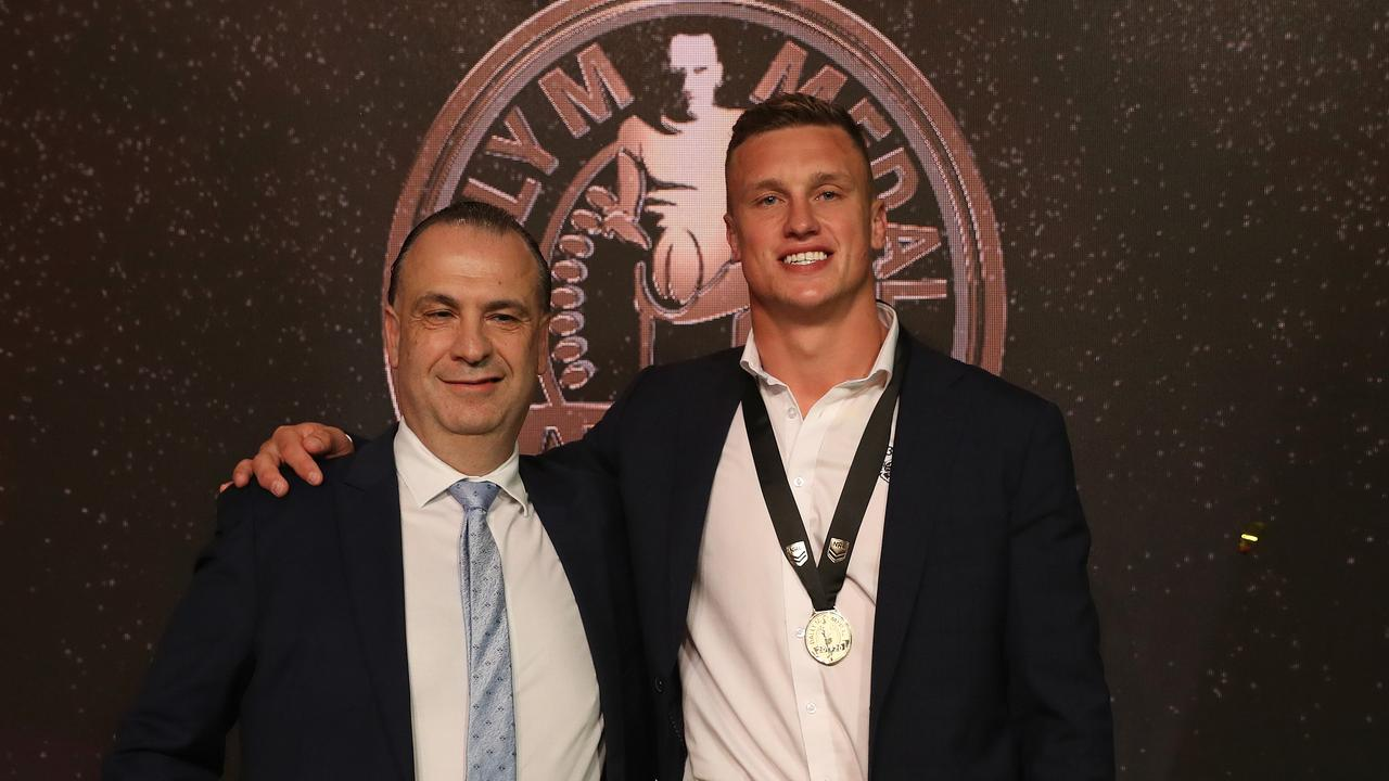 Winner of the Dally M Award Canberra's Jack Wighton with Peter V'landys