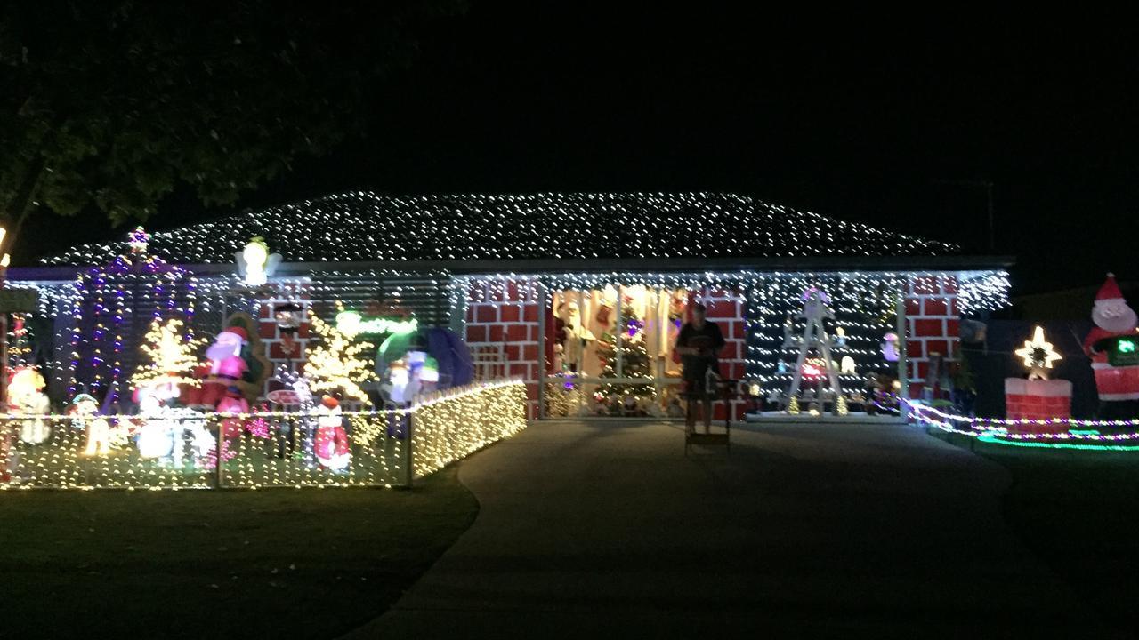 Sharon Sadler's Christmas display lighting up the night. Photo: Sharon Sadler