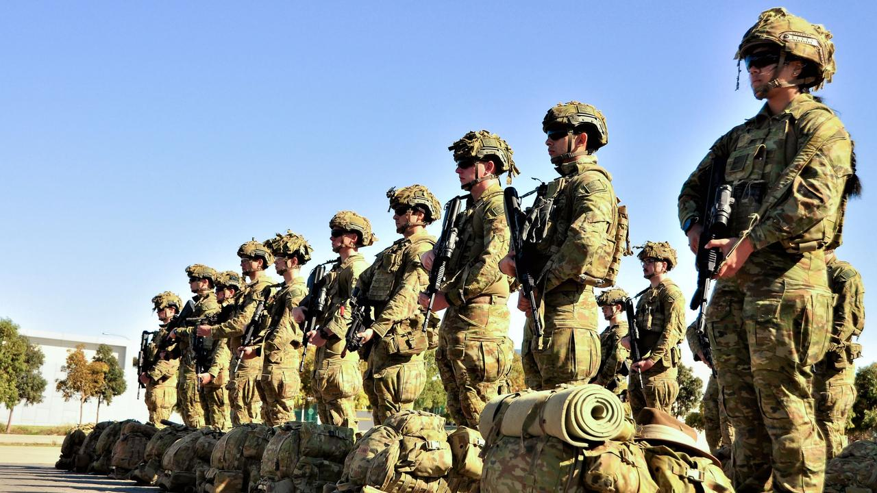 Soldiers on parade at RAAF base Edinburgh.