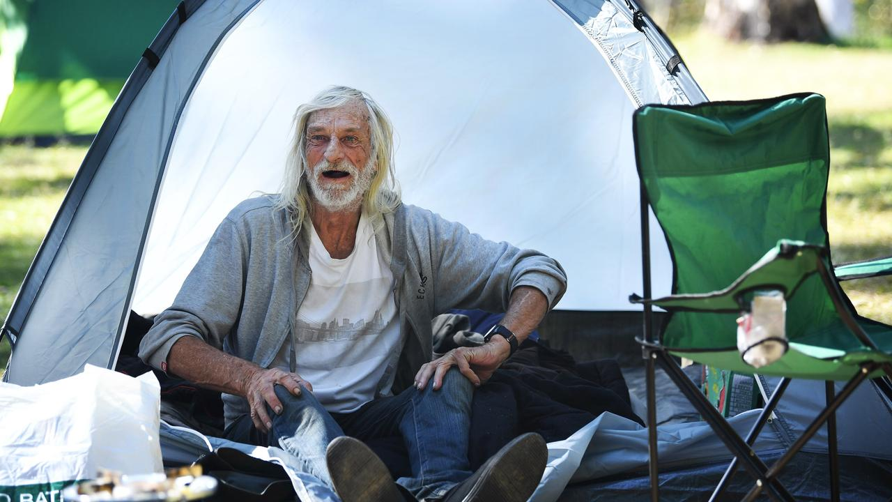 File photo of homeless man Dan Seymour at the Six Mile at Gympie