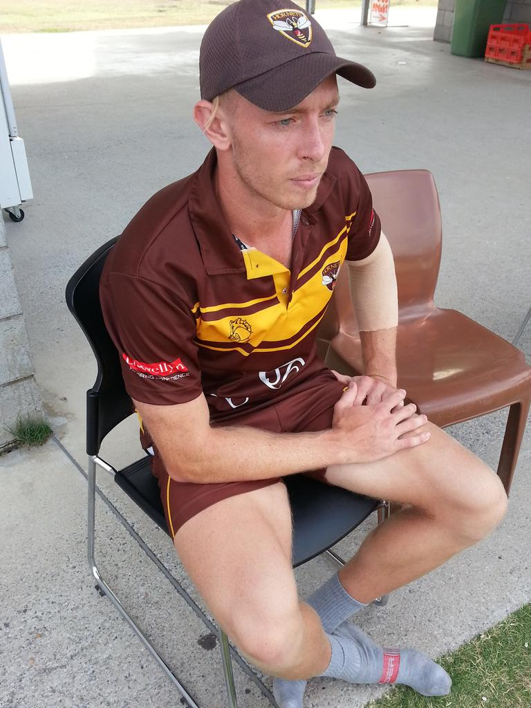 Ipswich Hornets spinning all-rounder Jack Wood watches his teammates play at Baxter Oval today with plenty to ponder. Picture: David Lems