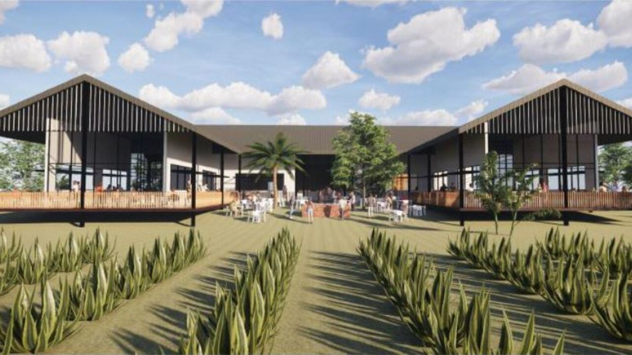 Artist impressions of a new distillery and tourist centre set to be built on an agave farm south of Bowen. Photo: Contributed