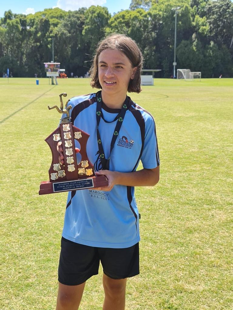 Maroochydore Swans striker Rocco Guerrera scored an impressive 60 for the U14 boys this year.
