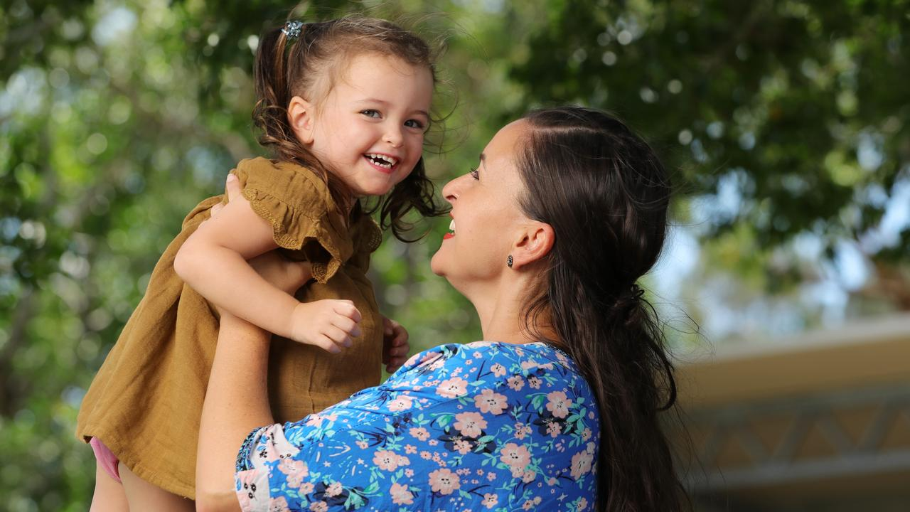Sunshine Coast Mum Gemma Rivers with her three-year-old daughter Nell who swallowed a fridge magnet as an 18-month-old. Photo: Lachie Millard.