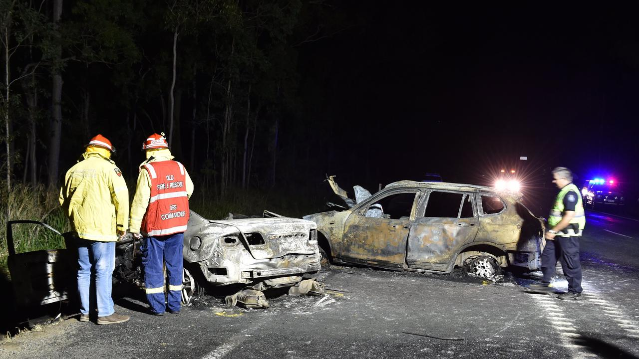 Crash investigators at the scene of a double fatality on the Bruce Highway north of Tiaro on April 17, 2017. Picture: Alistair Brightman