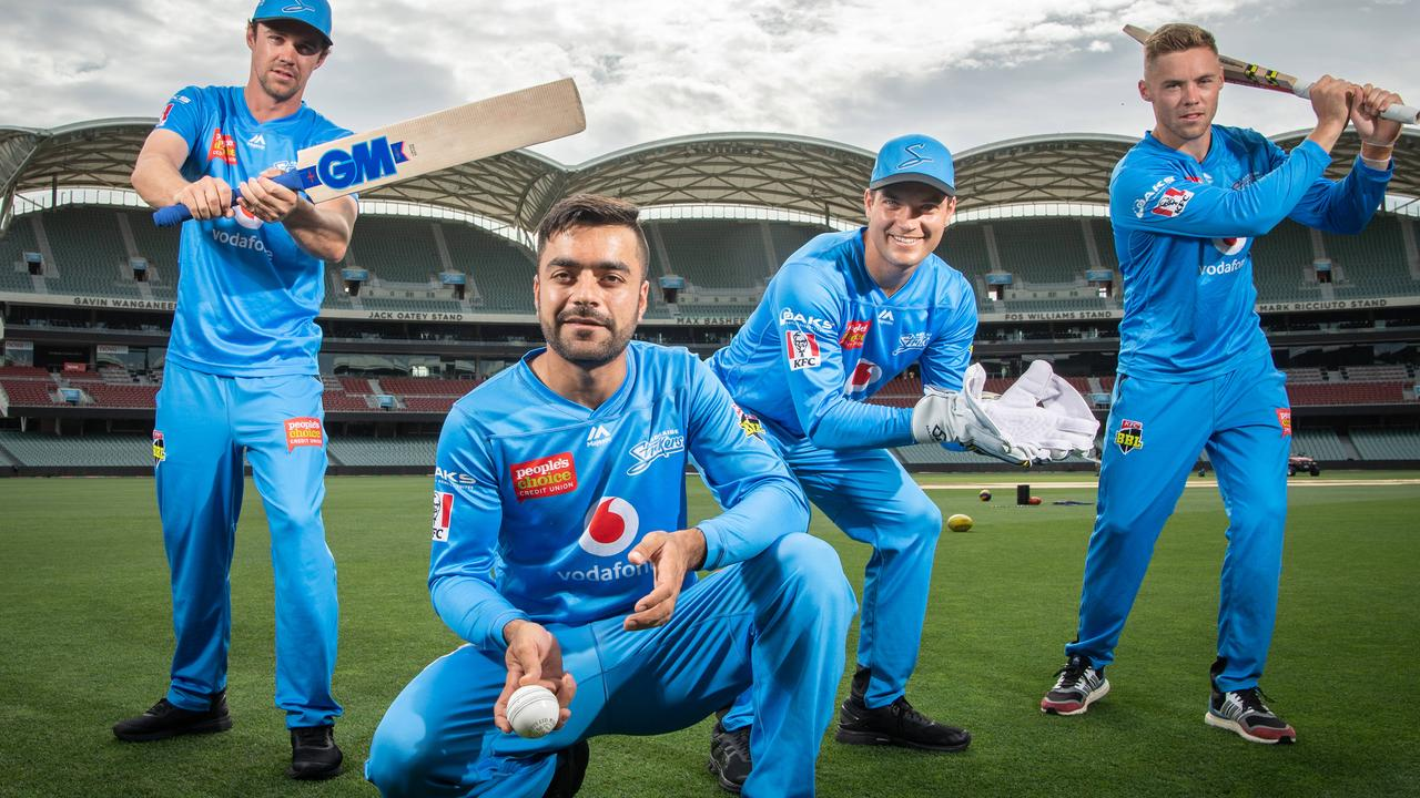 Strikers Travis Head, Rashid Khan, Alex Carey and Phil Salt. Picture: Brad Fleet