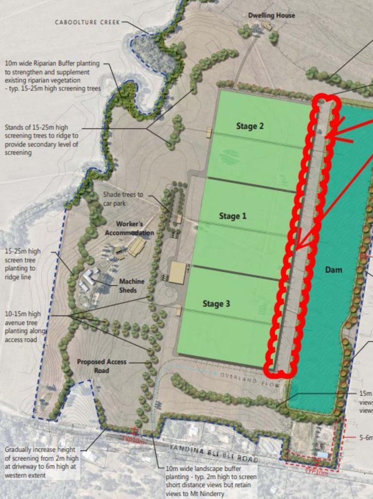Approved plans show the layout and staging schedule for greenhouses at a Yandina Bli Bli Rd property at Maroochy River.