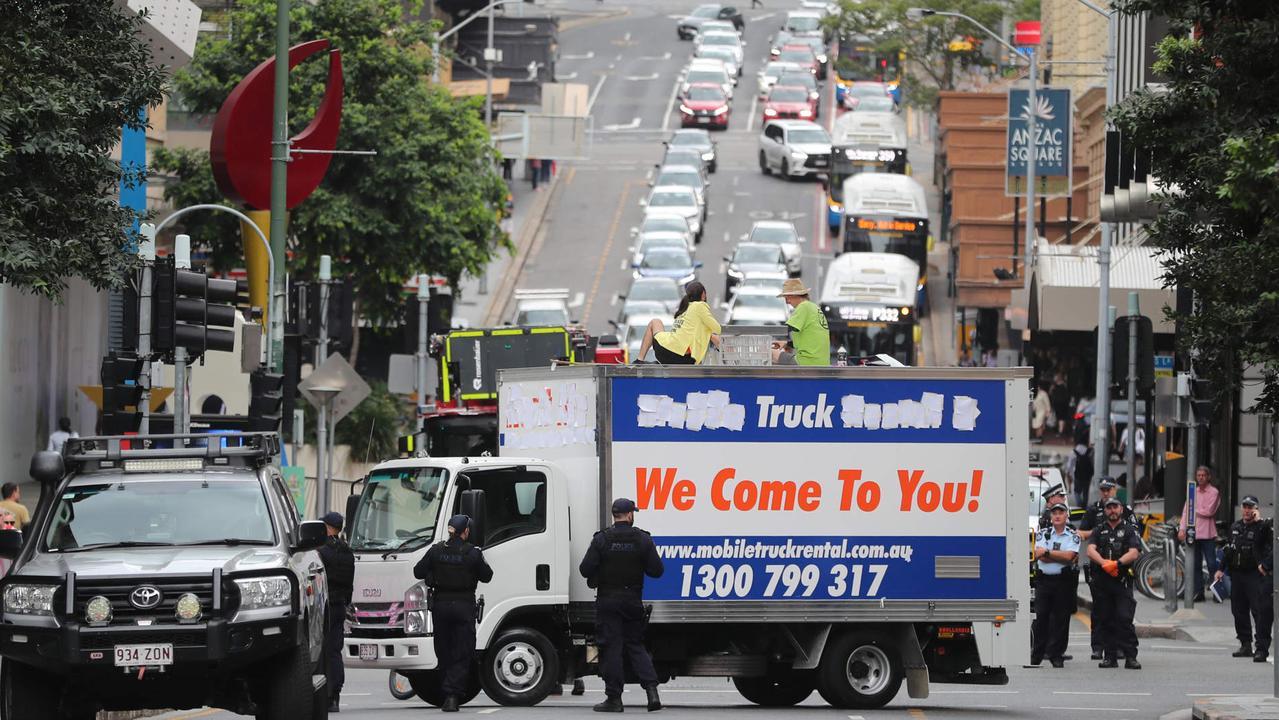 Extinction Rebellion protest in Brisbane CBD. Picture: Peter Wallis