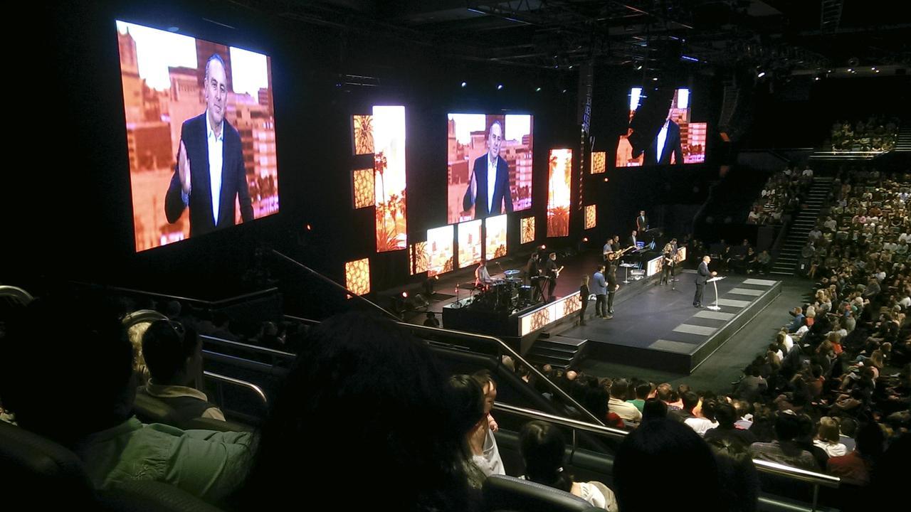 Pastor Brian Houston presenting sermon at Hillsong Church.