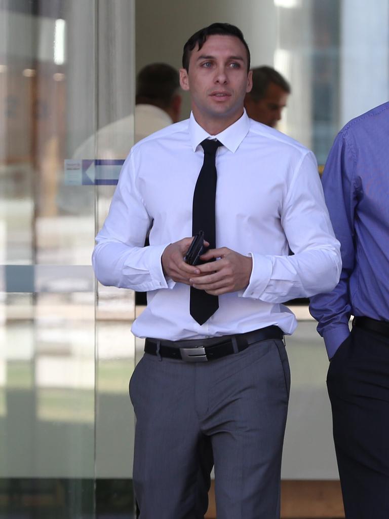 Dean Paul Barnes leaves Brisbane District Court.