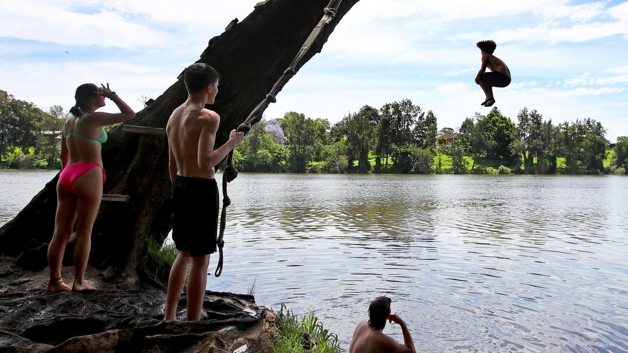 Kids cool down on a stretch of the Nepean River near Penrith. Picture: Toby Zerna