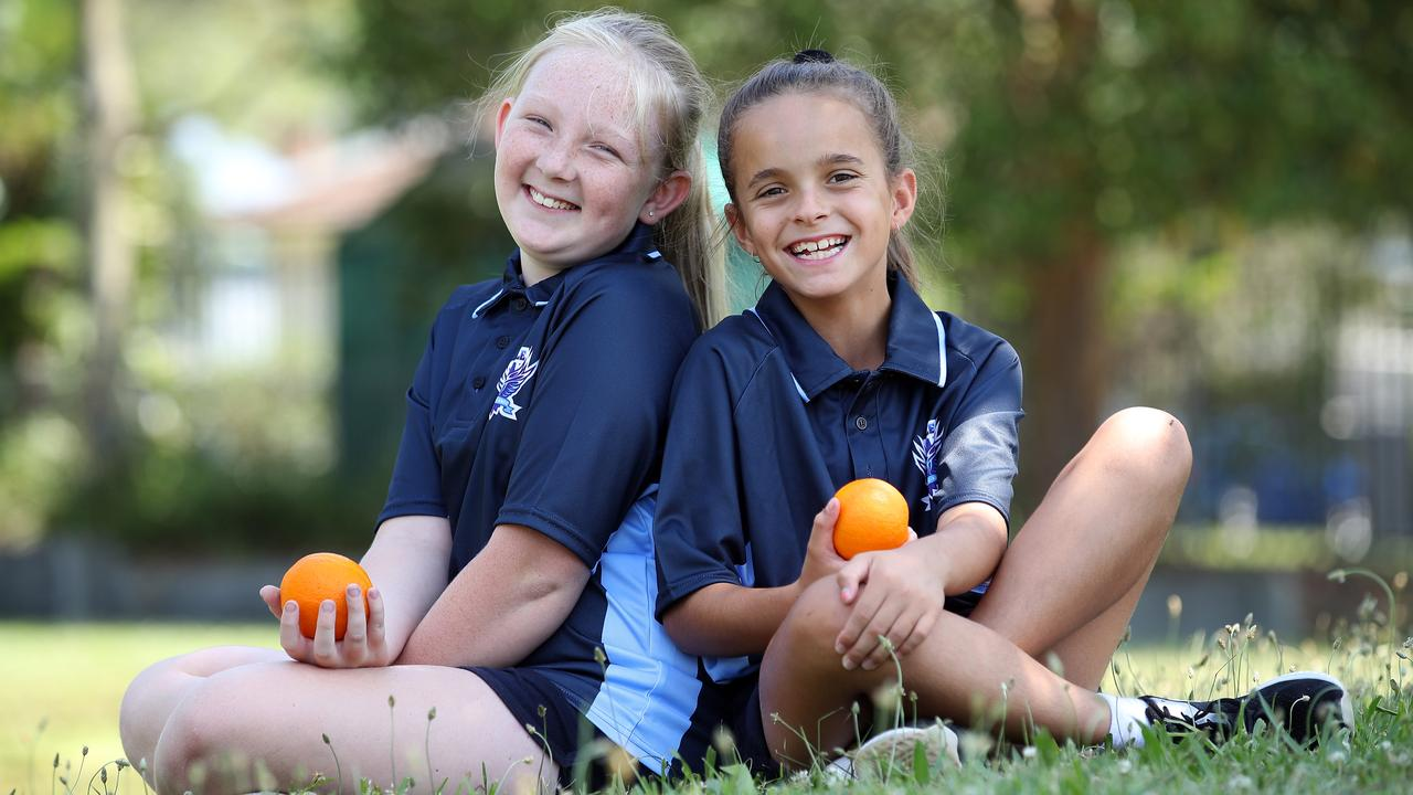 Best friends Ashlyn Southern, 10, and Ruby-Anne Davidson, 10. Picture: David Swift