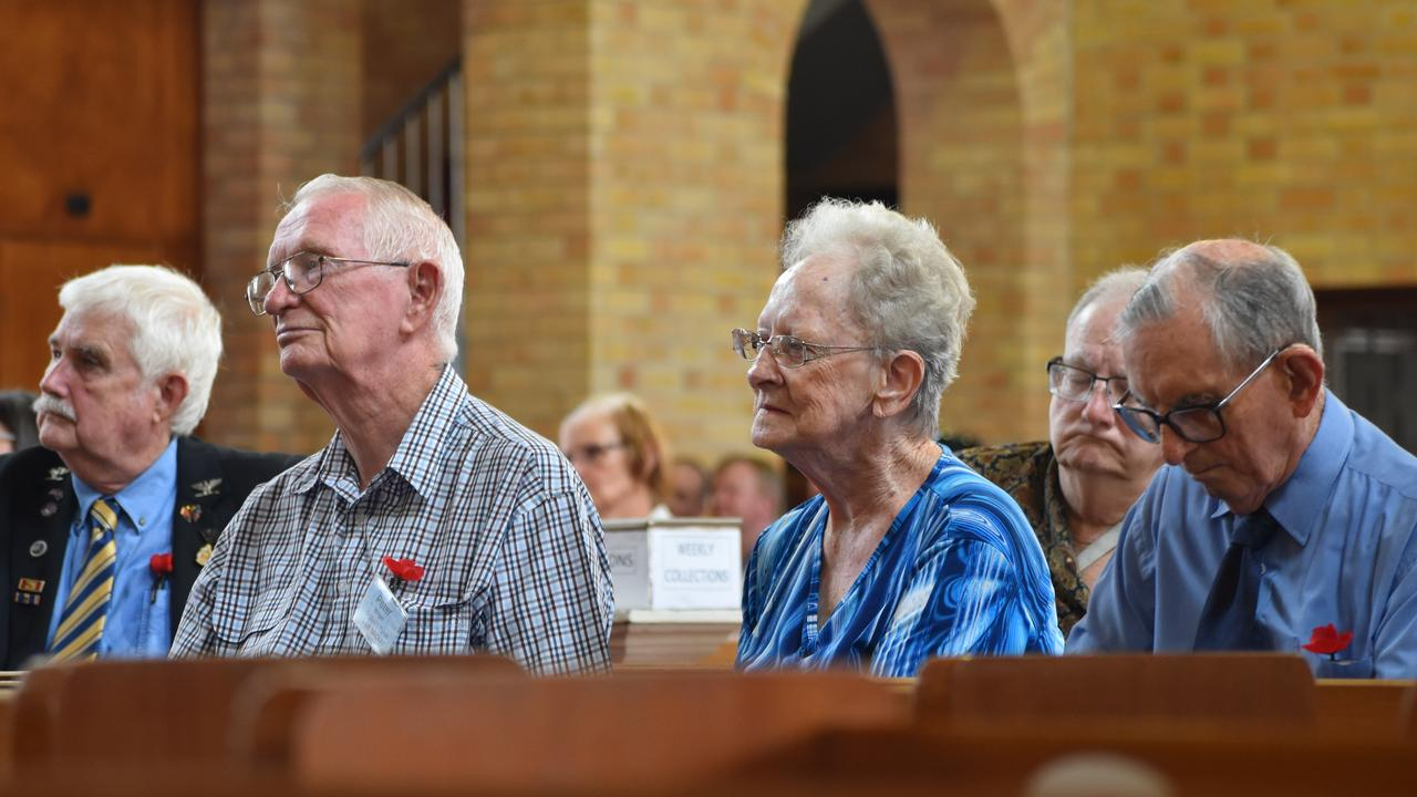 More than 200 people attended former Daily Mercury editor Rod Manning's funeral at St Patrick's Catholic Church, Mackay, on Tuesday December 8. From left: Mackay RSL senior vice president Col Benson, Peter Wright, Berenice Wright and Terry Hayes. Picture: Zizi Averill