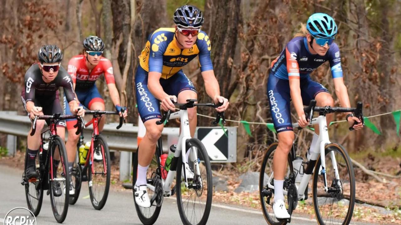 Former Alligator Creek cyclist Alex Bogna (front right) returned to competitive racing at the Tour De Tweed last week. Picture: RCPix