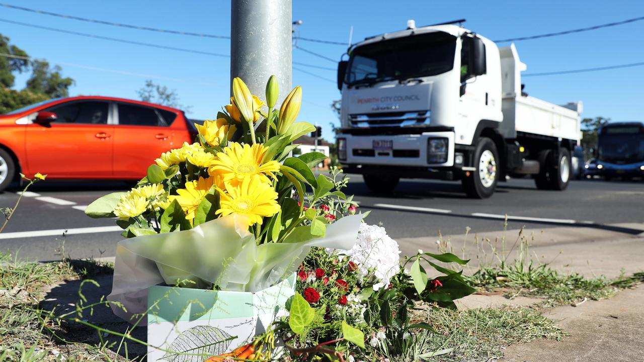 Flowers at the crash scene. Picture: Tim Hunter.