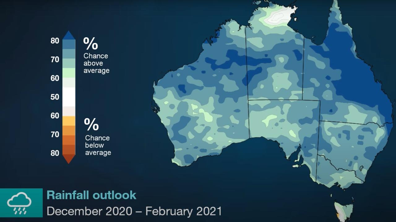 The BOM is still predicting a wet summer for much of Australia. Picture: BOM.