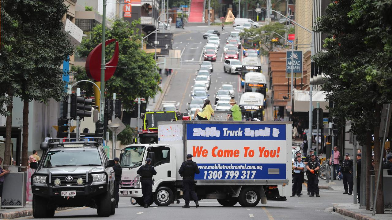 The protest caused delays for peak hour traffic. Picture: Peter Wallis