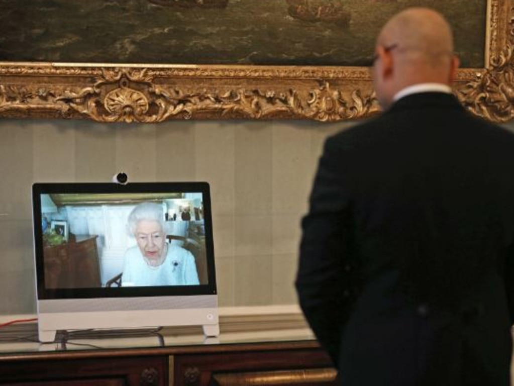 A diplomat visiting Buckingham Palace speaks with the Queen via Zoom. Picture: Supplied