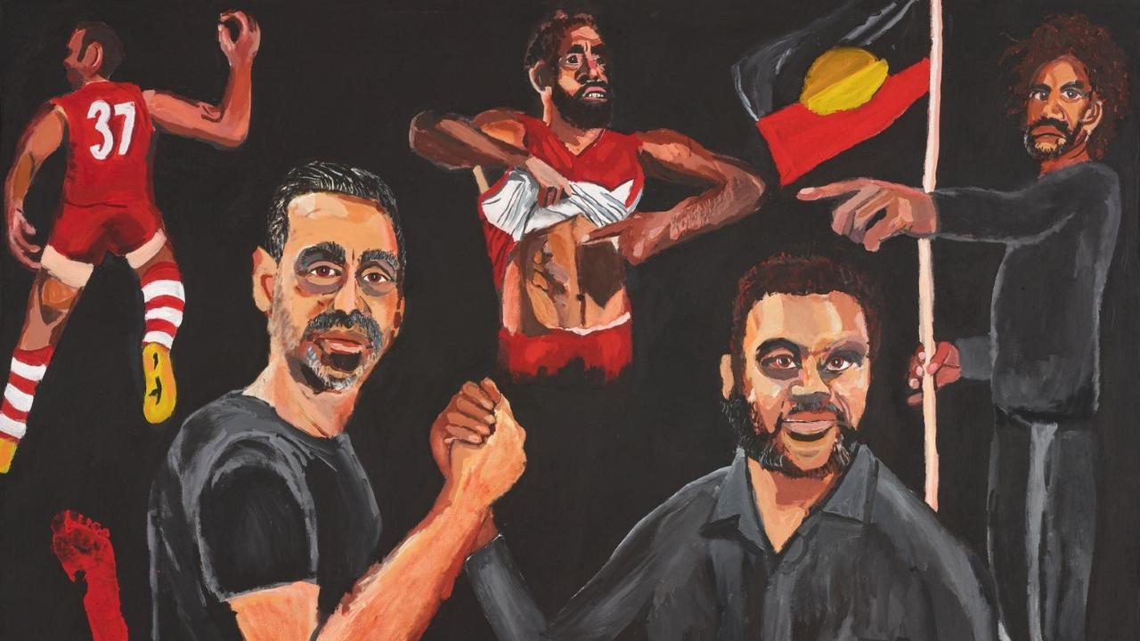 Archibald Prize 2020 finalist Vincent Namatjira Stand strong for who you are acrylic on linen, 152 x 198 cm the artist Photo: AGNSW, Mim Stirling Sitter: Adam Goodes – former professional Australian rules footballer