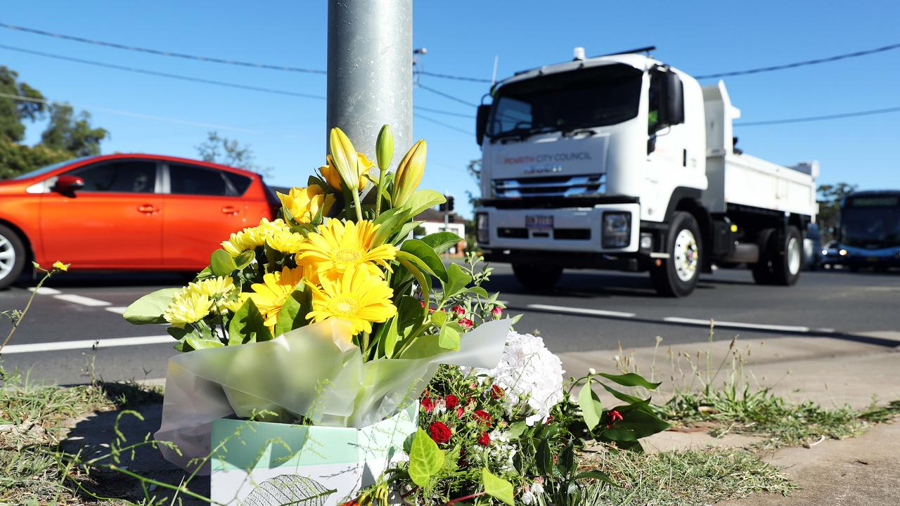 Tribute... Flowers at crash site today. Picture: Tim Hunter.