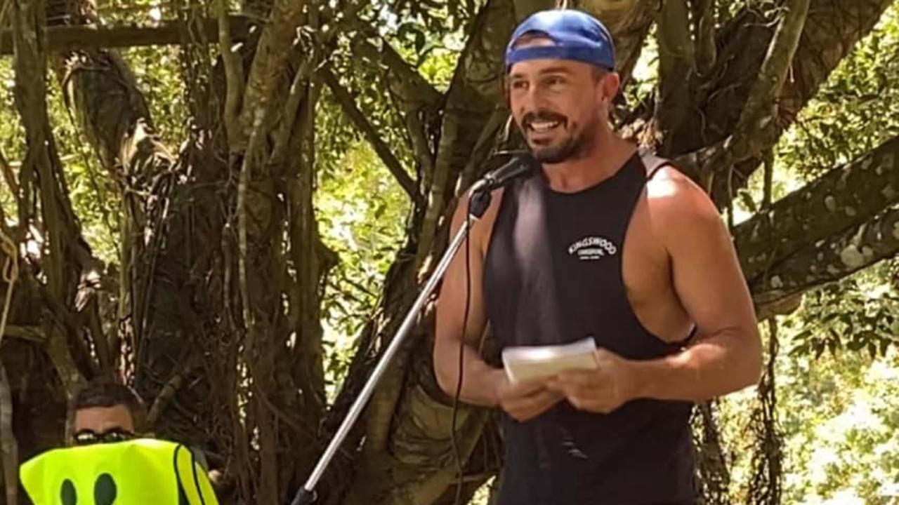 Dave Oneegs speaks at the Cairns Freedom Day rally