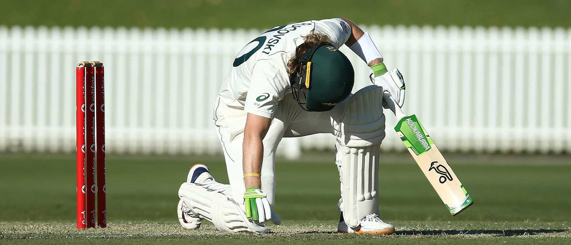 The Australia A clash finished in sickening circumstances, with rising star Will Pucovski collapsing to the turf after he was struck by a bouncer.