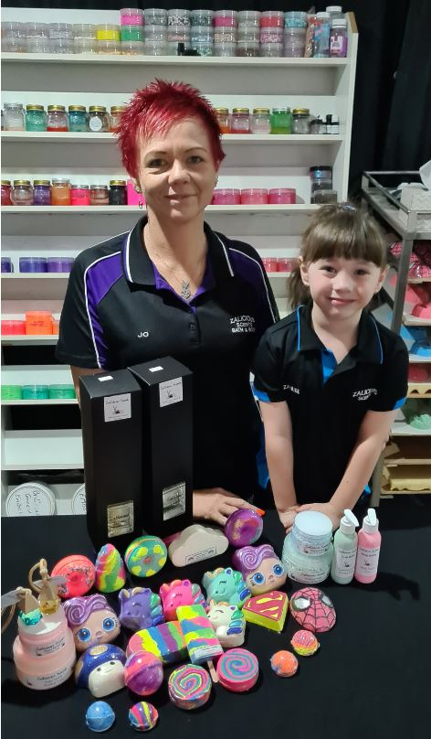 Jo and daughter Zahlee love selling their products.