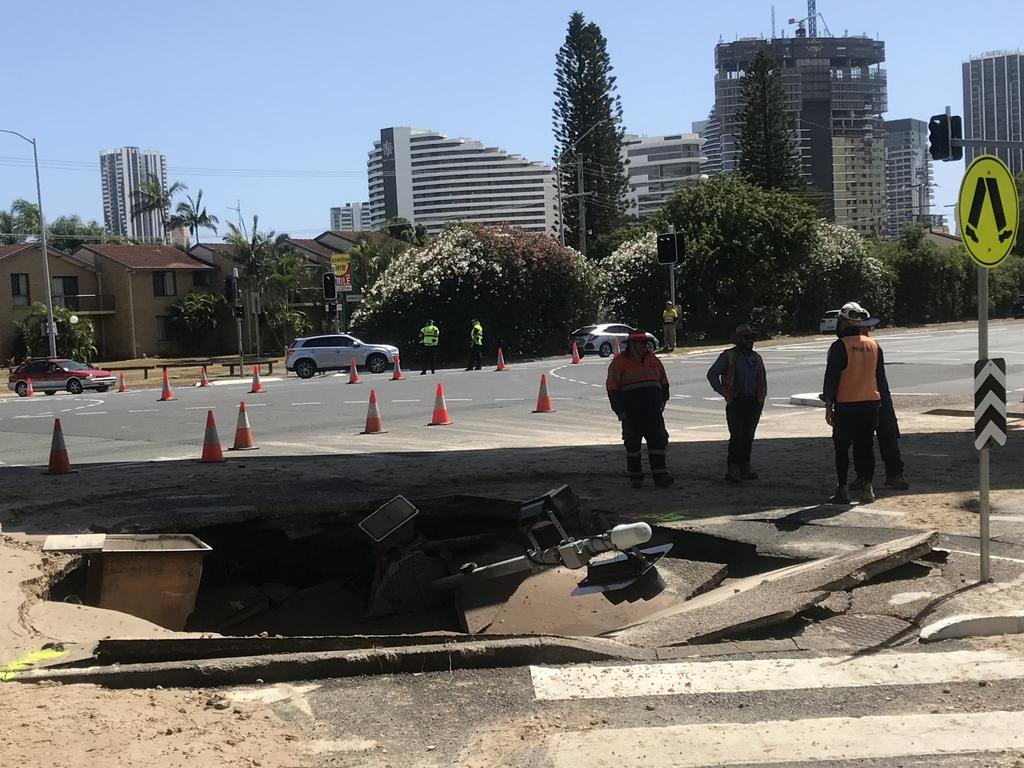 The sinkhole outside Pacific Fair Shopping Centre. Photo: Jodie Calcott.