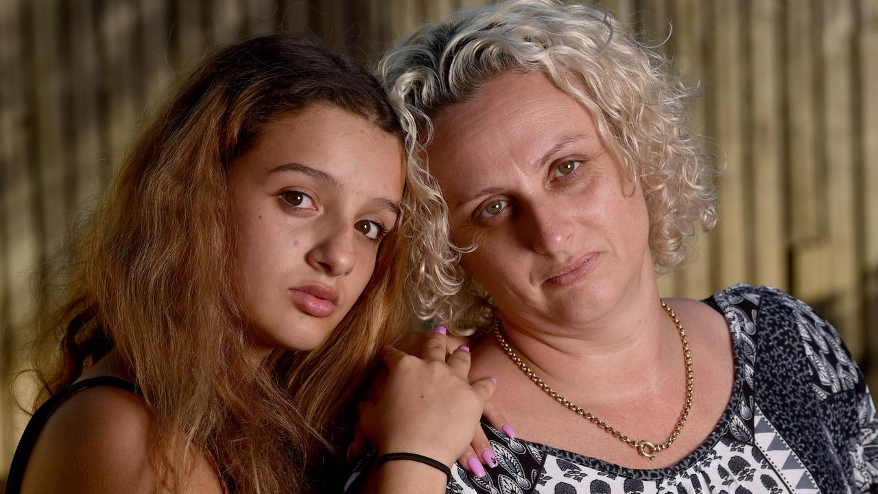 Cassiana Ribeiro with her daughter Rayssa Atkinson, 14, at their Bushland Beach home. Picture: Evan Morgan