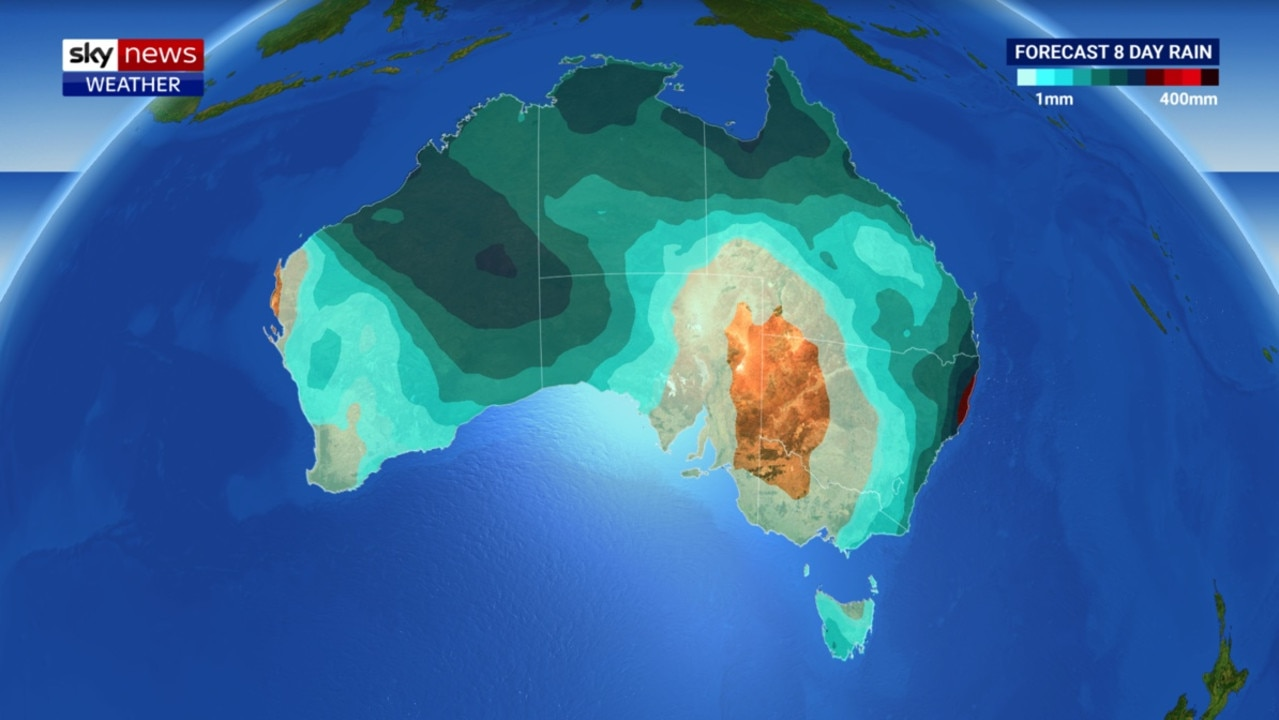 Rain could sweep parts of north west WA, Queensland and New South Wales in the coming days. Picture: Sky.