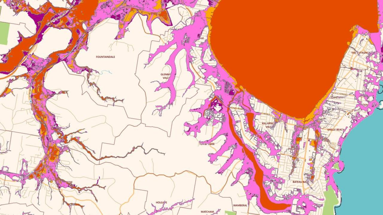 Areas close to The Entrance in the Central Coast prone to flooding. The large red area is Tuggerah Lakes. Picture: Central Coast Council