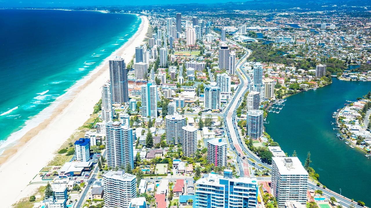An aerial view from Surfers Paradise to Coolangatta.