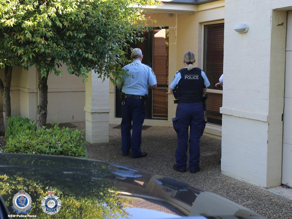 Police arrive at the Albury home. Picture: NSW police