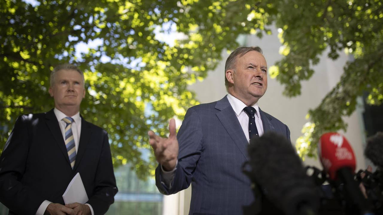 Opposition Leader Anthony Albanese with Opposition industrial relations spokesman Tony Burke. Picture: NCA NewsWire/Gary Ramage