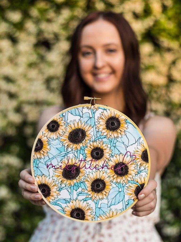 One of the stunning handmade embroidery hoops from Mikstitches.