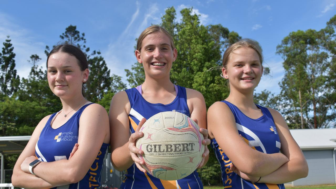 Gympie and Districts Netball Club – Matilda Gook, Breanna Pearce and Hannah Ward. Photo: Bec Singh