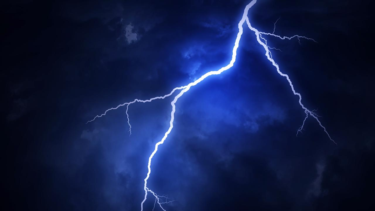 One man was aboard a 14m catamaran which was struck by lightning early this morning off Great Keppel Island.