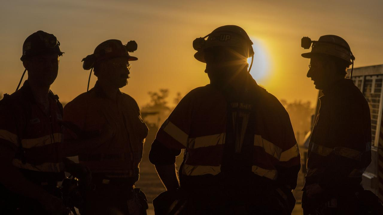Grosvenor Mine's go line at sunrise. The fundraiser for the five miners injured in the Grosvenor mine blast is one of the most popular in Mackay. Picture: Anglo American