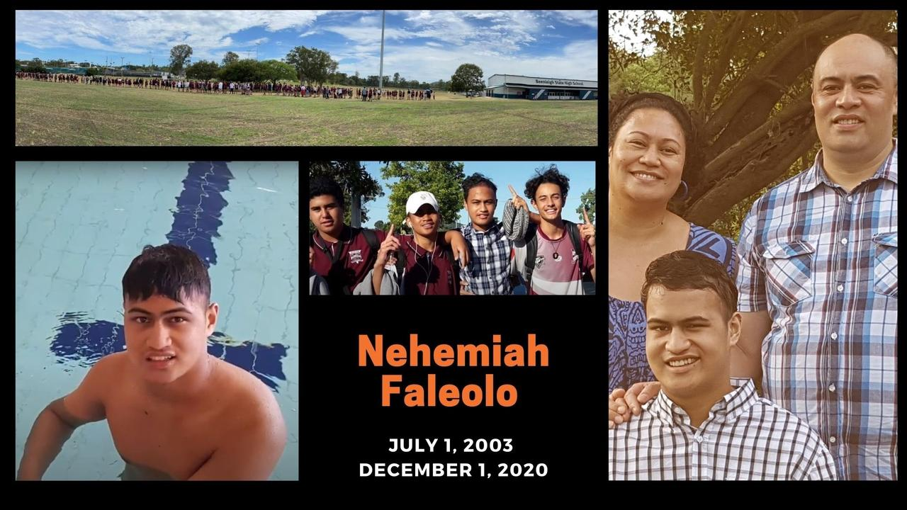 Hundreds were at the Beenleigh State High School oval to pay their respects to Nehemiah Faleolo, pictured with his school friends and with his parents Ruth and Thom.