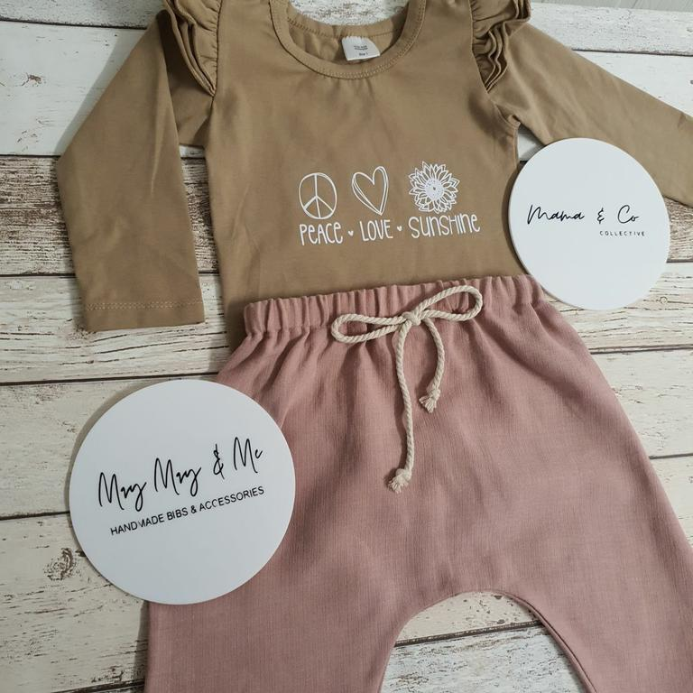 A beautiful outfit with handmade pieces from local businesses Mama & Co Collective and May May & Me.