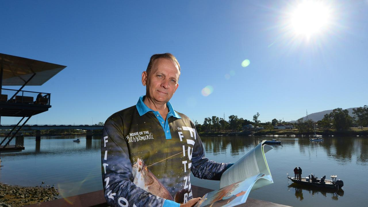 Cr Tony Williams on the Fitzroy River promoting barra fishing in the region. Rocky is possibly the only place in the world where you can catch a trophy size barramundi in the centre of a city.