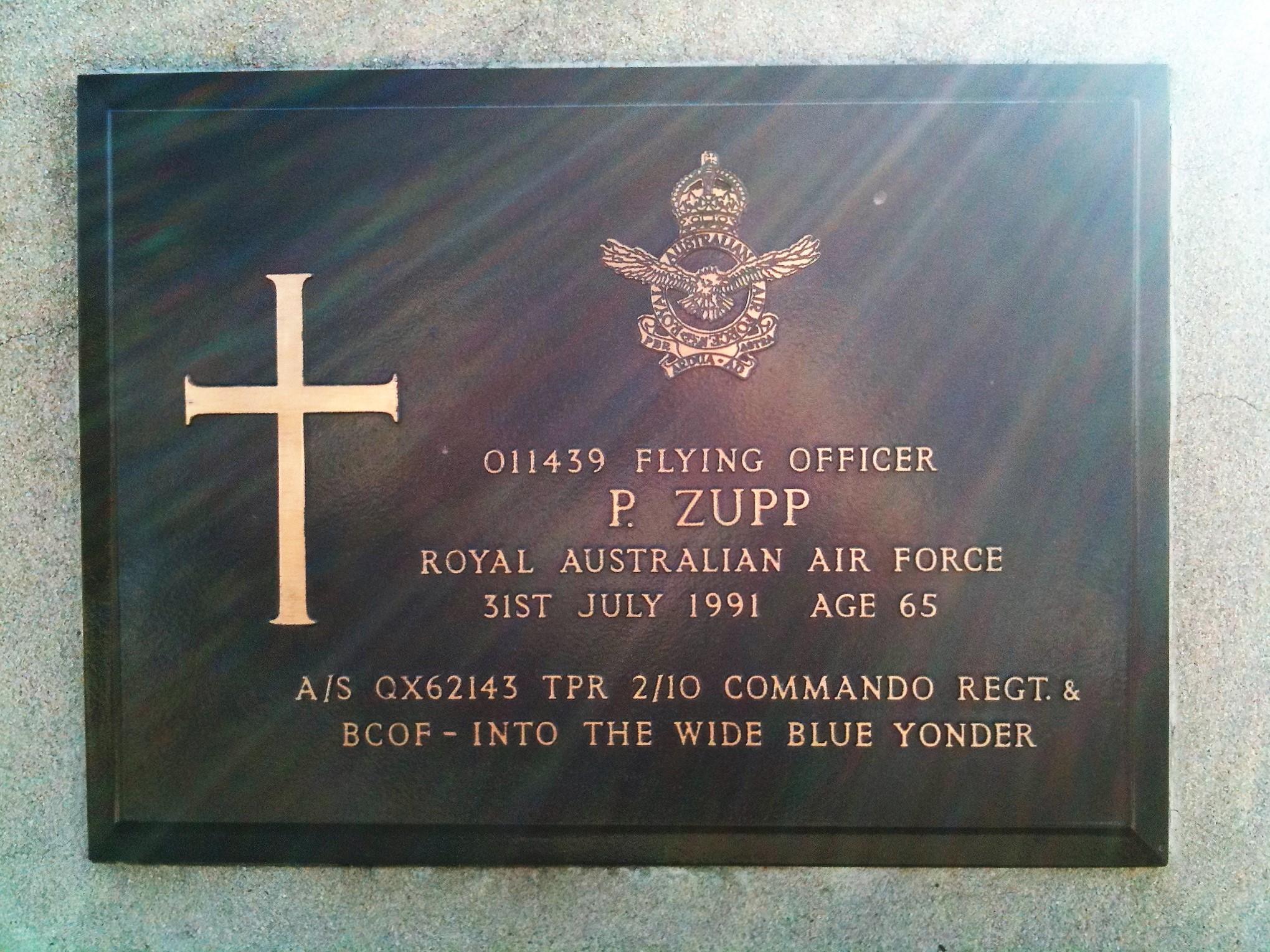 Phillip Zupp's headstone. Photo courtesy of Owen Zupp
